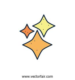 Isolated stars line fill style icon vector design