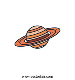 Isolated saturn line fill style icon vector design