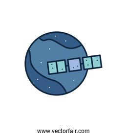 Isolated satellite and planet line fill style icon vector design