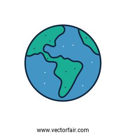 Isolated world sphere line fill style icon vector design