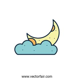 Isolated moon and cloud line fill style icon vector design