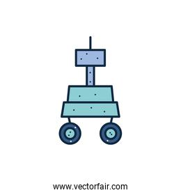 Isolated space robot line fill style icon vector design