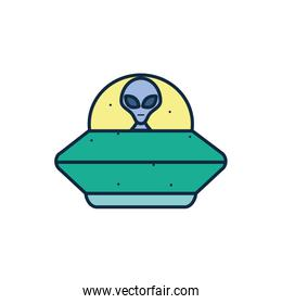 Isolated alien inside ufo line fill style icon vector design