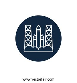 Isolated rocket line block style icon vector design