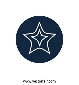Isolated star line block style icon vector illustration