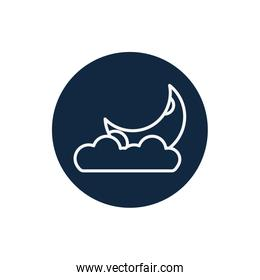 Isolated moon and cloud line block style icon vector design