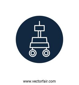 Isolated space robot line block style icon vector design
