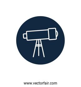 Isolated telescope line block style icon vector design