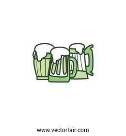 Isolated glasses of beer line style icon vector design