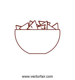 Isolated nachos inside bowl line style icon vector design