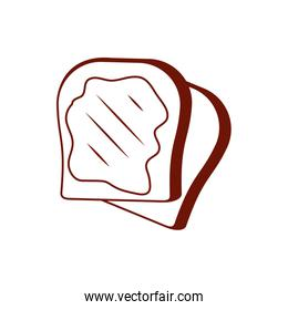 Isolated bakery bread line style icon vector design