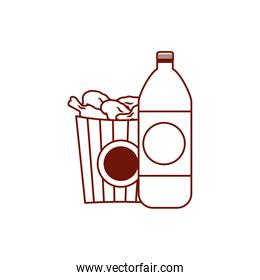 Isolated chicken bag and soda line style icon vector design