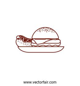 Isolated hamburger and hot dog line style icon vector design