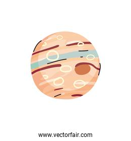 Isolated jupiter planet line and fill style icon vector design