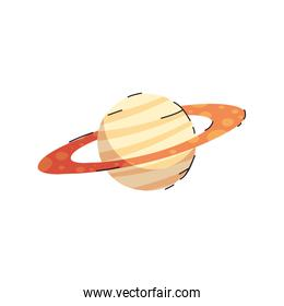 Isolated saturn planet line and fill style icon vector design