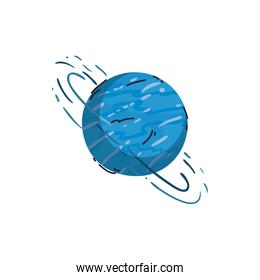 Isolated uranus planet line and fill style icon vector design