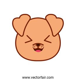 Cute kawaii dog cartoon line and fill style icon vector design