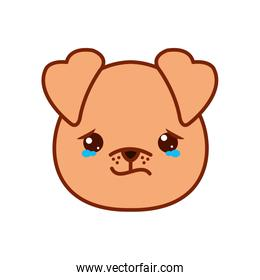 Cute kawaii dog cartoon crying line and fill style icon vector design