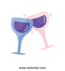 Isolated champagne cups flat style icon vector design