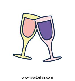 Isolated champagne cups line fill style icon vector design