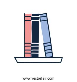Isolated books doodle line fill style icon vector design