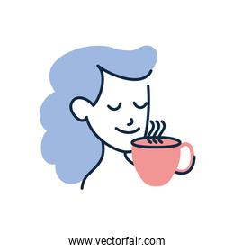 Isolated woman cartoon with tea cup doodle line fill style icon vector design