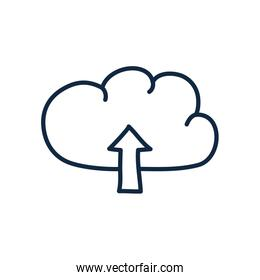 Isolated cloud with upload arrow doodle line style icon vector design