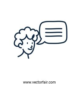 Isolated man cartoon with bubble doodle line style icon vector design