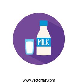 Isolated milk bottle and glass flat style icon vector design