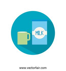 Isolated milk mug and box flat style icon vector design