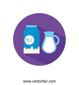 Isolated milk box and jar flat style icon vector design