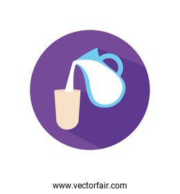 Isolated milk jar and glass flat style icon vector design