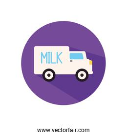 Isolated milk truck flat style icon vector design