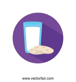 Isolated milk glass with cookie flat style icon vector design