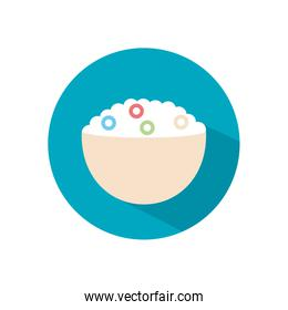 Isolated milk cereal bowl flat style icon vector design