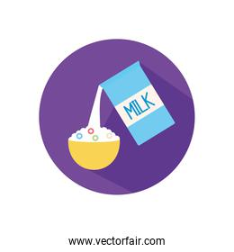 Isolated milk box and cereal flat style icon vector design