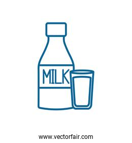 Isolated milk bottle and glass line style icon vector design