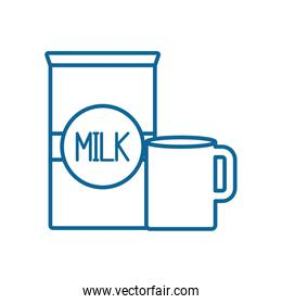 Isolated milk mug and box line style icon vector design
