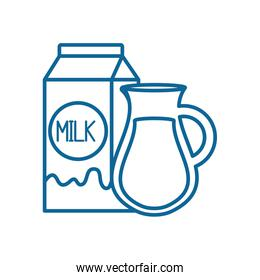 Isolated milk box and jar line style icon vector design
