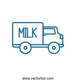Isolated milk truck line style icon vector design