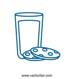 Isolated milk glass with cookie line style icon vector design
