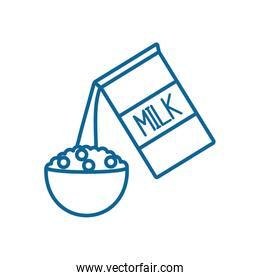 Isolated milk box and cereal line style icon vector design