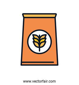 Isolated wheat ear bag line fill style icon vector design