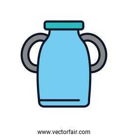 Isolated milk bottle line fill style icon vector design