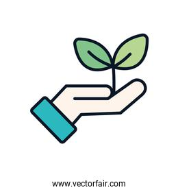 Isolated plant over hand line fill style icon vector design