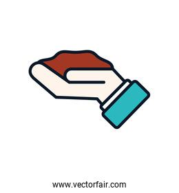 Isolated earth over hand line fill style icon vector design