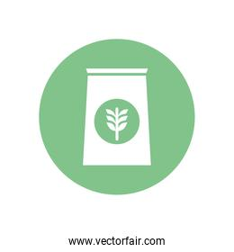 Isolated wheat ear bag silhouette block style icon vector design