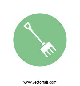 Isolated rake tool silhouette block style icon vector design