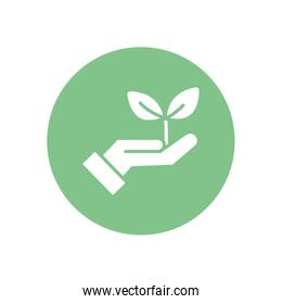 Isolated plant over hand silhouette block style icon vector design