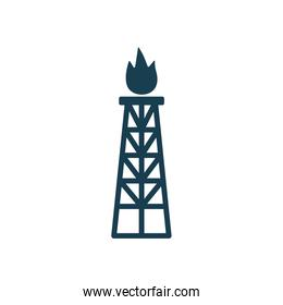 Isolated oil tower with flame silhouette style icon vector design